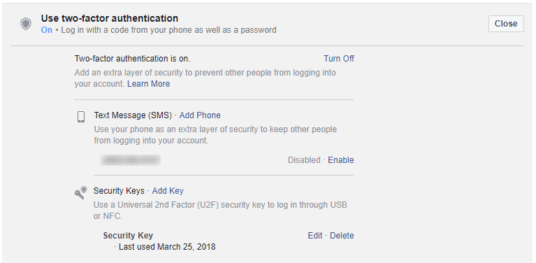 Setting up a USB Security Key on Facebook